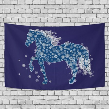 MYPOP New Year Horse And Snow Tapestry Wall Hanging Decoration Home Decor Living Room Dorm 60x51 inches - New Years Decor