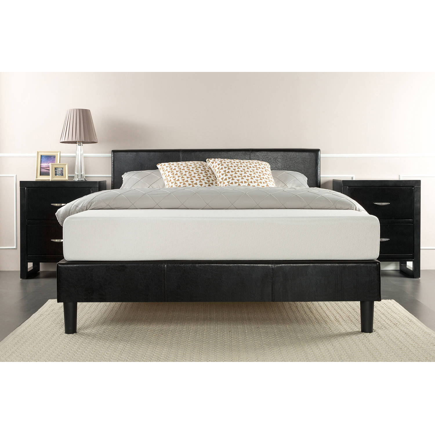 Zinus Faux Leather Platform Bed with Wood Slat Support, Black