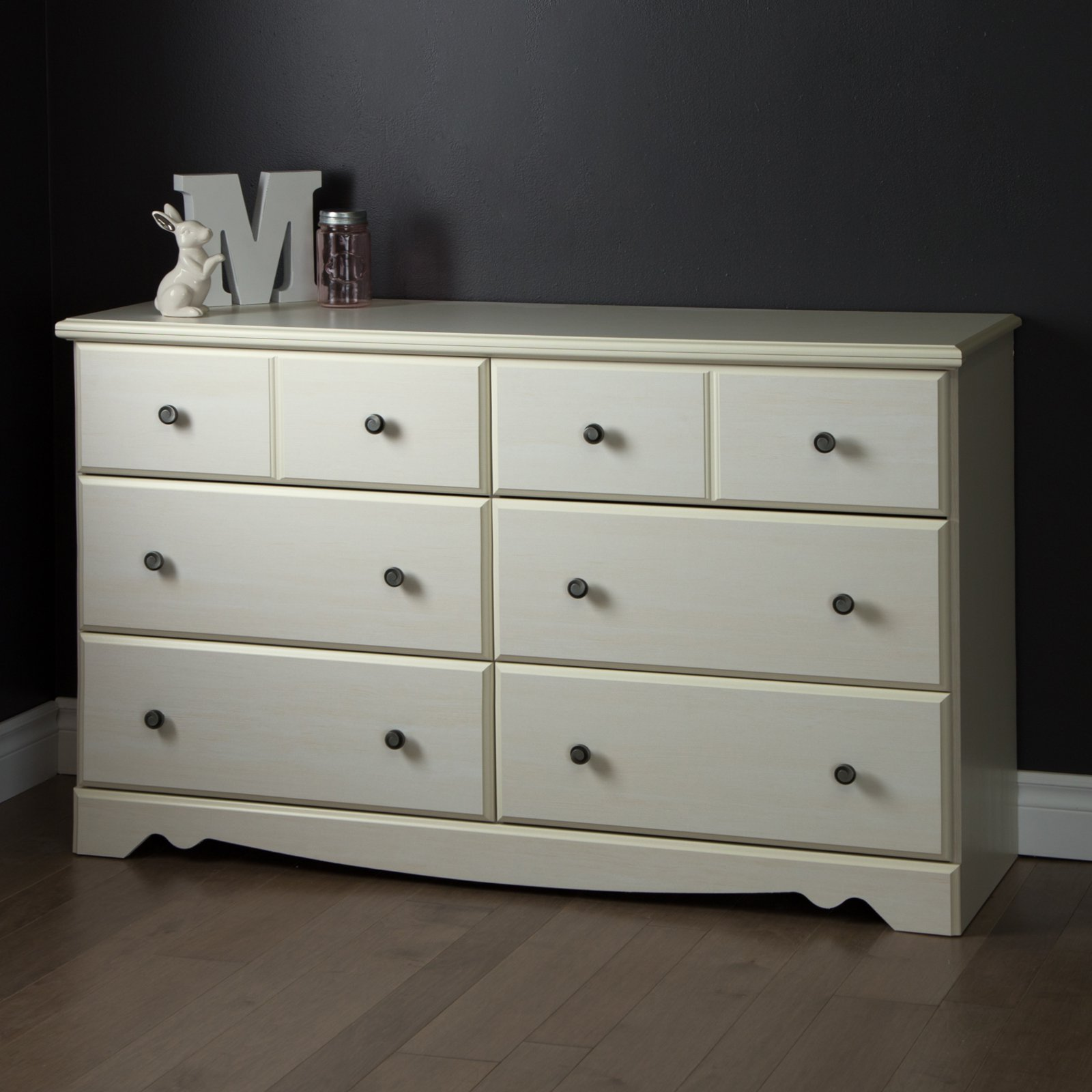 South Shore Country Poetry 6-Drawer Double Dresser, White Wash