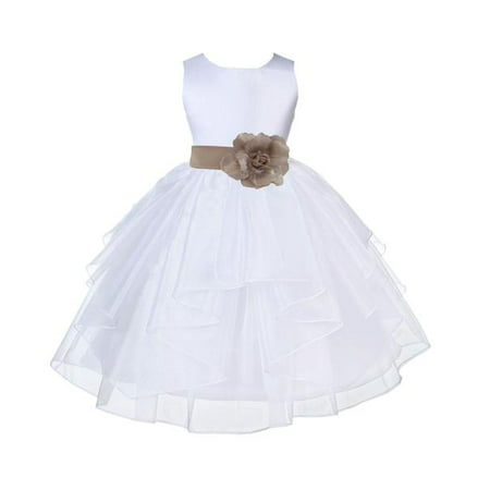 Ekidsbridal Formal White Shimmering Organza Flower Girl Dresses Wedding Pageant Special Occasions Dresses Junior Toddler Holy Baptism Communion Reception Recital Birthday Girl Party 4613S