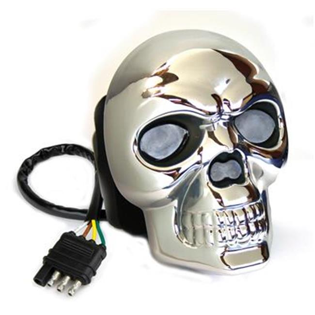 HIGHLAND 8652355 Trailer Hitch Cover - Skull Black, Chrome Plated