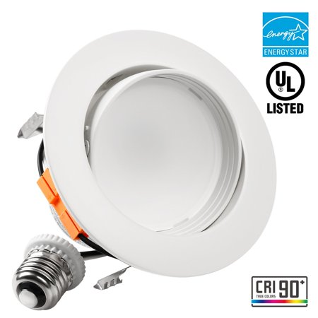 4 Inch LED Dimmable Gimbal Recessed Retrofit Downlight, 10W (65W Equiv.), High CRI90+ Directional Ceiling Light Fixture, ENERGY STAR, UL-listed, 3000K Warm White ()