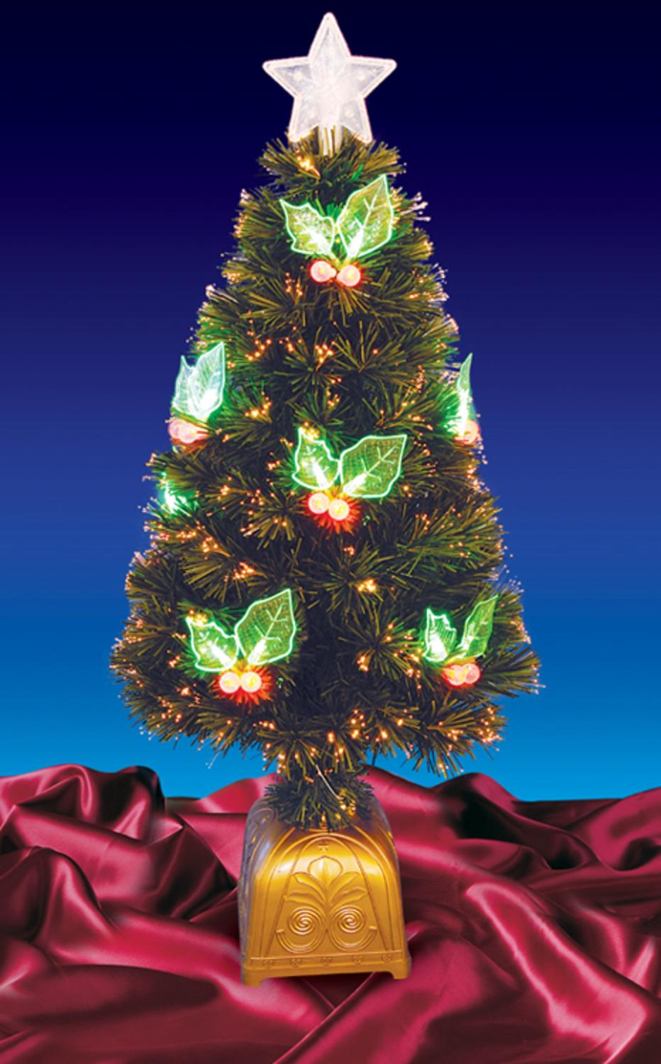 4 pre lit led color changing fiber optic christmas tree with holly berries
