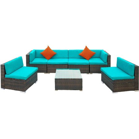 Clearance! 7PCS Patio Set, Outdoor Couch with 6PCS Weather Resistant Cushions, 2 Pillows, Tempered Glass Tabletop , Sofa Wicker Conversation Set for Garden Lawn Pool Backyard Outdoor , Blue, Q4066 ()
