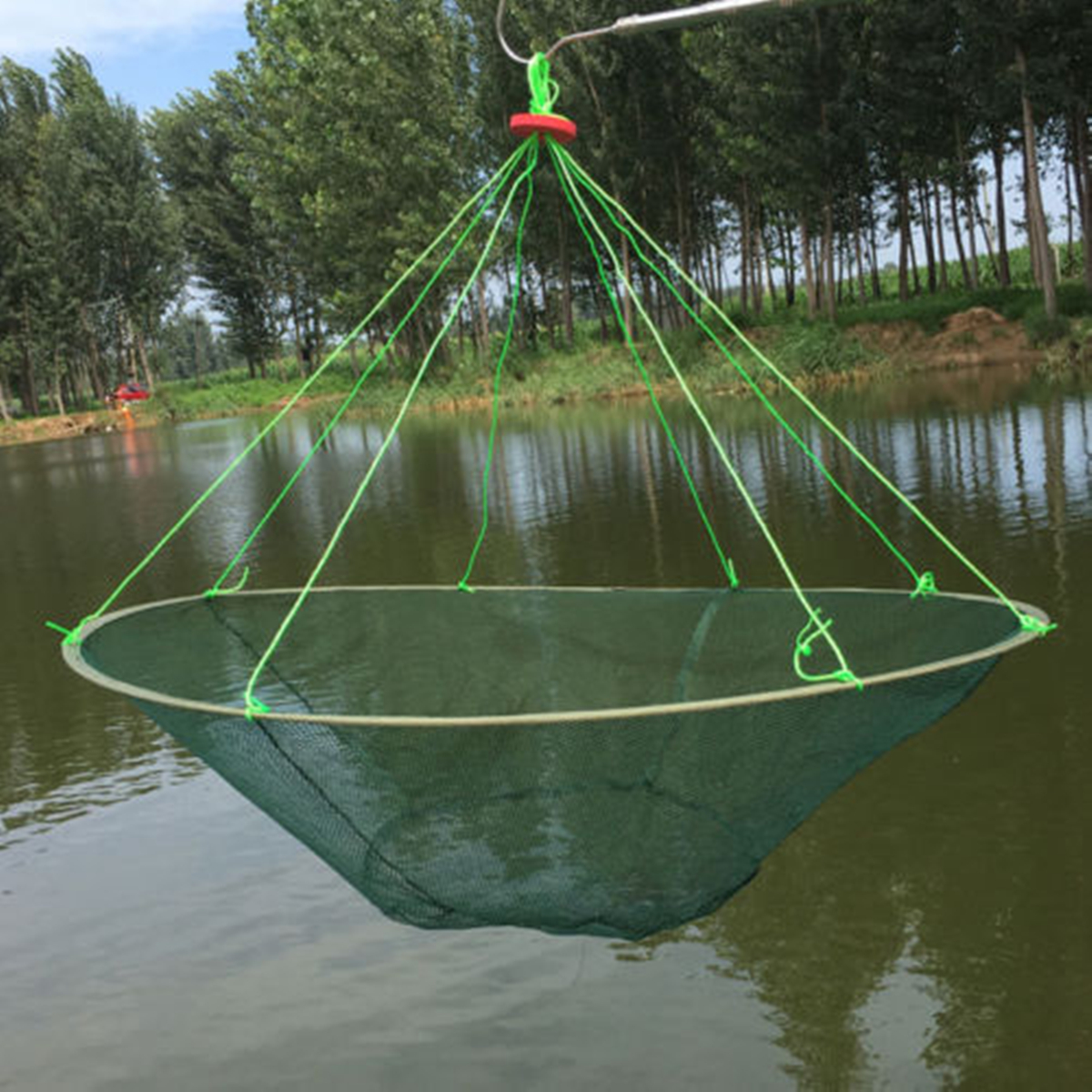 Foldable Prawn Bait Minnow Shrimp Drop Fishing Net Pier Harbour Green Pond Mesh