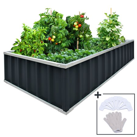 "Extra-thick 2-Ply Reinforced Card Frame 68""x 35.5"" Raised Garden Bed Kingbird Galvanized Steel Elevated Planter Kit Box +8pcs T-type Tags & 1 Gloves as Gift, no Rust or Bend, Charcoal-Grey"