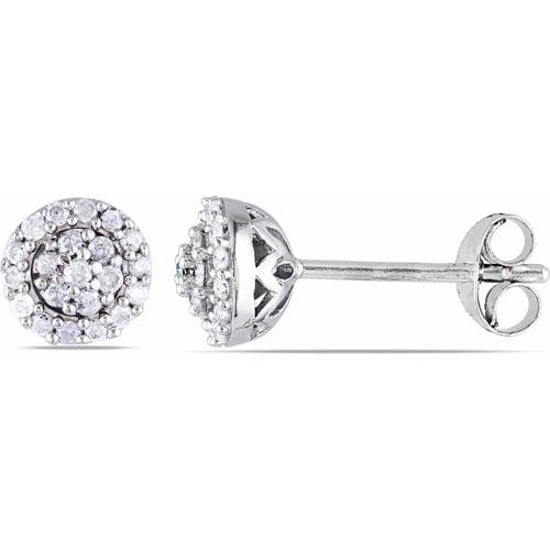Miabella 1/4 Carat T.W. Diamond Sterling Silver Flower-Halo Earrings