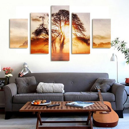 - Grtsunsea 5pcs Sunset Canvas Modern Home Wall Decor Art Painting Picture Print No Frame