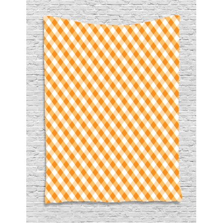 Checkered Tapestry, Cross Weave Gingham Pattern in Orange and White Old Fashioned Classical Tile, Wall Hanging for Bedroom Living Room Dorm Decor, 40W X 60L Inches, Orange White, by Ambesonne