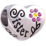Crystal Accent Stainless Steel Flower Sister Heart Charm