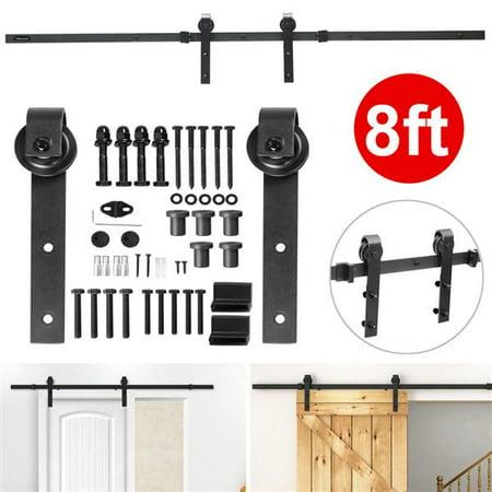 8Ft Sliding Barn Door Hardware Kit Set Antique Style Single Closet Wood Track System Black