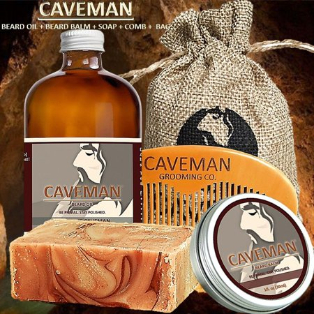 Comb Balm Free Beard Soap Hand Crafted Caveman® Beard Oil Set Kit Beard Oil
