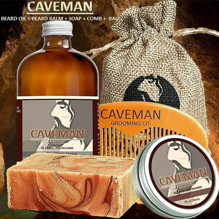 Caveman Beard Oil, Balm, Soap and Comb Kit - Leave in Conditioner Scent: Drunken Caveman (Bay