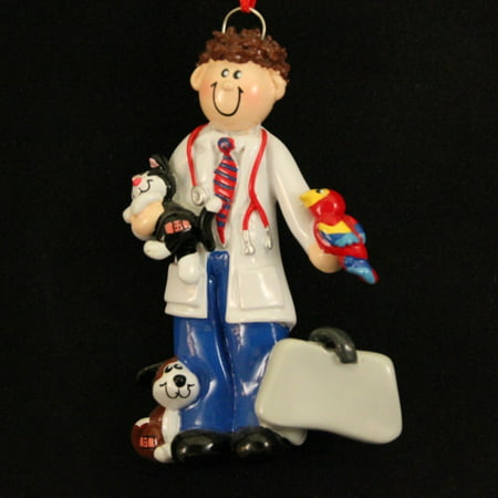 Veterinarian Man with Dog Cat and Bird Vet Christmas Ornament Tree Decoration, Rudolph and Me By Rudolph and Me