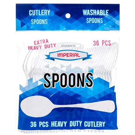 New 307813  Imperial Plastic Spoon Clear 36 Ct Extra Heavy Duty (48-Pack) Party Craft Cheap Wholesale Discount Bulk Party Supplies Party Craft Accessories