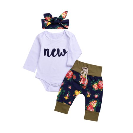Baby Girl Cute Cotton T-shirt+Floral Pants+Headband Outfit Set of 3 - Cute Girl St Patricks Day Outfits
