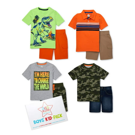 365 Kids from Garanimals Boys 4-10 Camo Dino Kid-Pack with T-Shirts, Cargo Shorts, and Jean Shorts, 8-Piece Outfit Set thumbnail