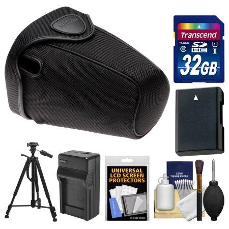 Nikon CF-DC2 Semi-Soft Holster Digital SLR Camera Case for D3300, D3400, D5500, D5600 with 32GB Card + EN-EL14 Battery & Charger + Tripod Kit