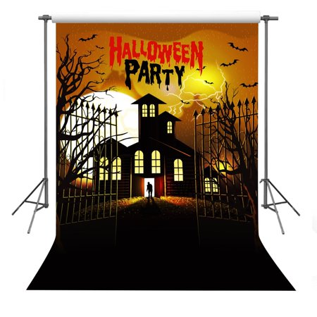 Halloween Party Photo Backdrops (MOHome Polyster Photo Background 5x7ft Haunted House Photography Backdrop For Halloween Theme Party)