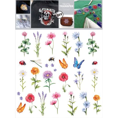 """Textil Transfer Fabric Iron-Ons 7.75""""X7.75""""-Wildflowers"""