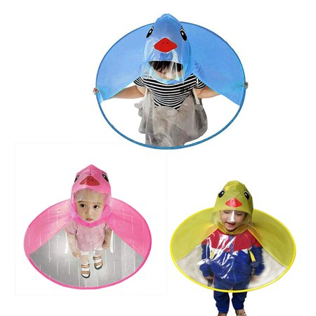 Custom Umbrella Hats (Obstce Cute Cartoon Duck Children Raincoat Umbrella UFO Shape Rain Hat Cape)