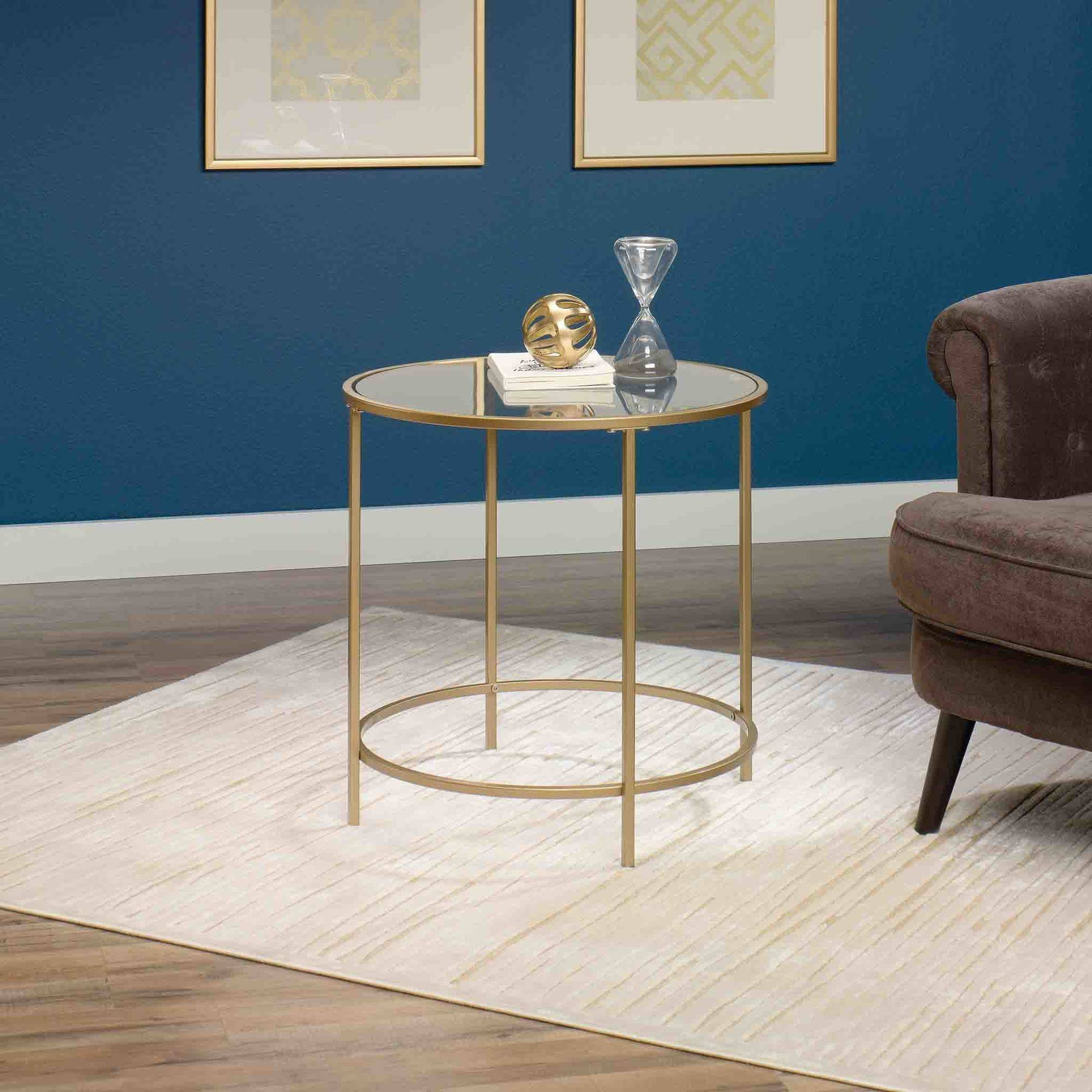 Sauder International Lux Round Side Table, Satin Gold
