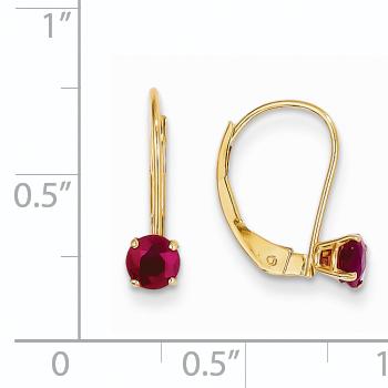14K Yellow Gold 4mm Round July/Ruby Leverback Earrings - image 1 de 2
