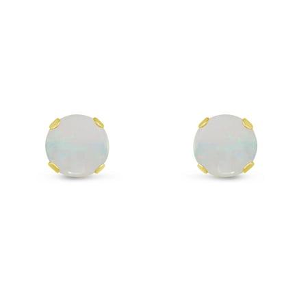 Round 4mm 14k Yellow Gold Genuine Opal 0.32 cttw Stud Earrings, June Birthstone Mother Of Pearl Opal Earrings