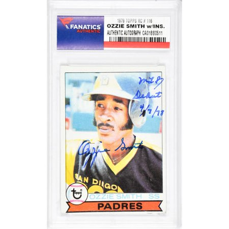 Ozzie Smith San Diego Padres Autographed 1979 Topps 116 Rookie Card With Mlb Debut 4778 Inscription