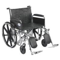 "Drive Medical Sentra EC Heavy Duty Wheelchair, Detachable Full Arms, Elevating Leg Rests, 24"" Seat"