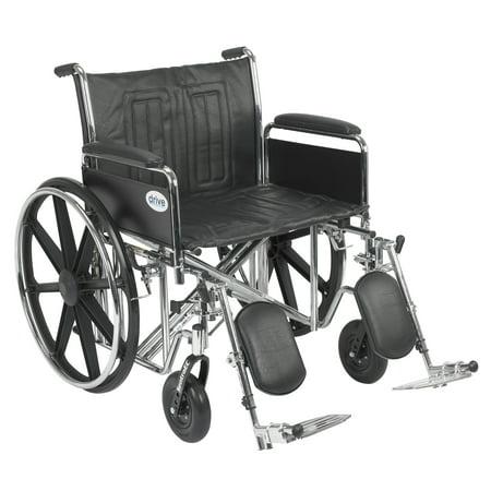 Drive Medical Sentra Ec Heavy Duty Wheelchair  Detachable Full Arms  Elevating Leg Rests  24  Seat
