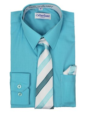 fa56b0afb Free shipping. Product Image Berlioni Italy Boys Toddlers Long Sleeve Dress  Shirt With Tie & Hanky