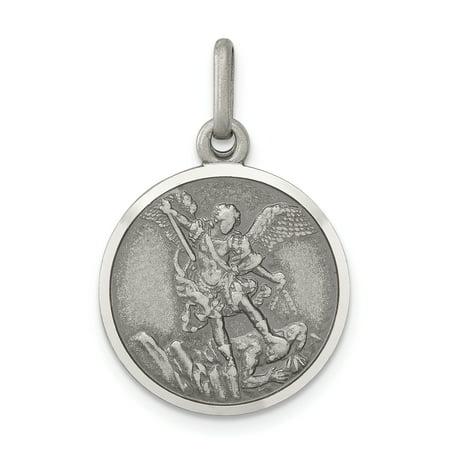 Sterling 925 Charm Pendant - 925 Sterling Silver Saint Michael Medal Pendant Charm Necklace Religious Patron St For Women