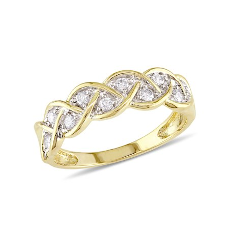 cebd02767 Miabella - 1/4 Carat T.W. Diamond Braid Ring in 10kt Yellow Gold -  Walmart.com