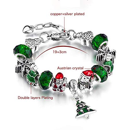 Christmas Red Crystal Bauble Snowflake Cover Lobster Clasp Bracelet