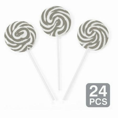 """Silver Swirl 2"""" Lollipops (24 Pack)"""