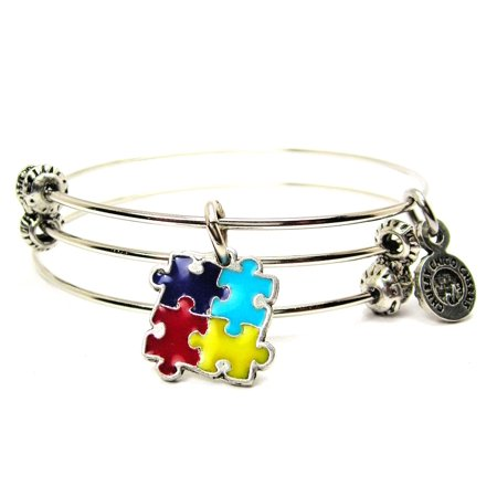 Chubby Chico Charms Autism Puzzle Pieces Hand Painted Expandable Wire Triple Style Bangle Bracelet,