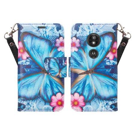 Moto E5 Plus Case, Moto E5 Supra Case,Cute Girls Women Pu Leather Wallet Case with ID Slot & Kickstand Phone Case for Motorola Moto E5 Plus - (Blue Butterfly) - image 5 of 6