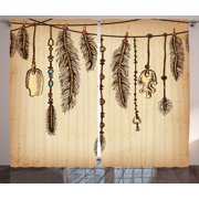 Tribal Curtains 2 Panels Set, Bohemian Ethnic Hair Accessories with Bird Feathers Beads on String Sketch Digital Print, Window Drapes for Living Room Bedroom, 108W X 96L Inches, Brown, by Ambesonne
