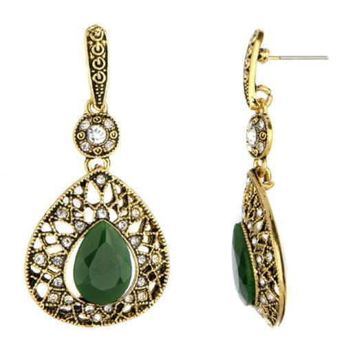 Emitations Brass Green and Black Drop Earrings