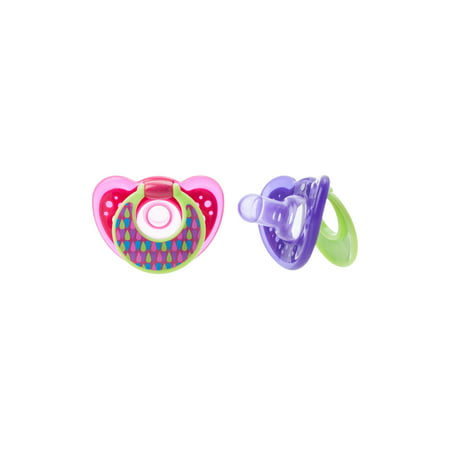 The First Years Gumdrop Pacifier, One Piece Silicone Design, Purple, 6-18m, 2 Pk