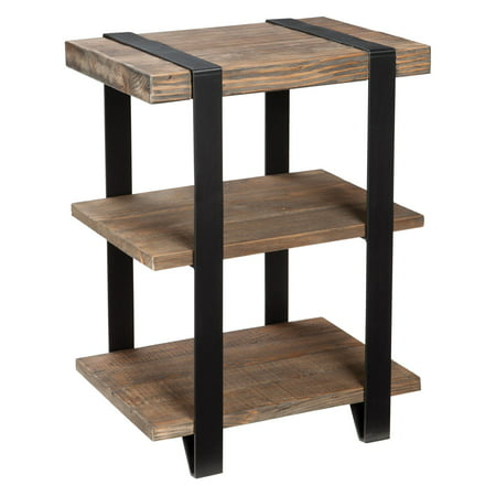 Image of 20 Modesto Wide 2 Shelf End Table Metal Strap and Reclaimed Wood Brown - Alaterre Furniture