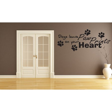 Dogs Leave Paw Prints On Your Heart Vinyl Wall Art Decals Sticker (Terrier Dog Vinyl Decal Sticker)