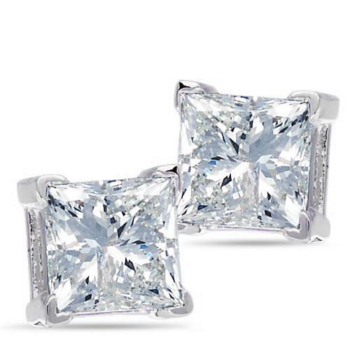 14K White Gold, Princess Cut Diamond Solitaire Earrings, 3/4 ctw.