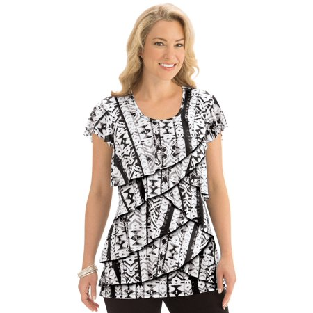- Women's Printed Tiered Ruffle Knit Top, Medium, Black Multi - Made in the USA