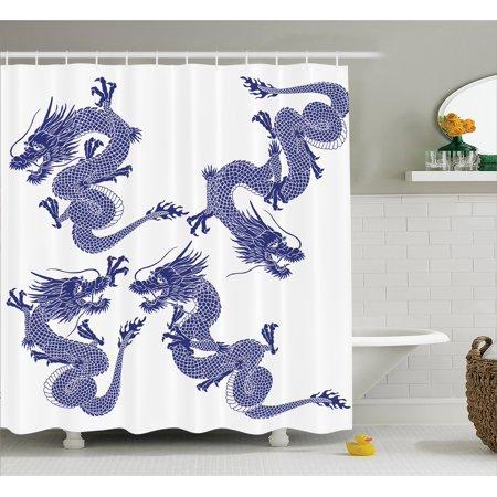 Dragon Shower Curtain Indigenous Japanese Dragons White Background Vitality Legendary Creatures Asian Myth Print