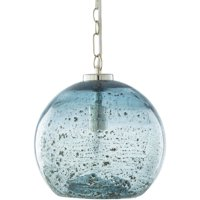 """11"""" Contemporary Clear and Stone Blue Glass Hanging Pendant Ceiling Light Fixture"""