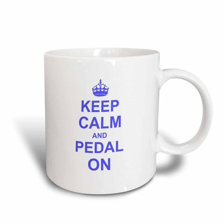 3dRose Keep Calm and Pedal on - blue - motivational motivating carry on biking cycling bicycle biker cycler, Ceramic Mug, (Cycling Mug)