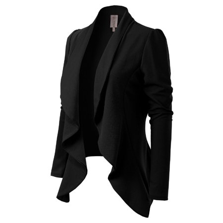 Made by Olivia Women's [Made in USA] Solid Formal Style Open Front Long Sleeves Blazer (S-3X) Puff Sleeve Blazer
