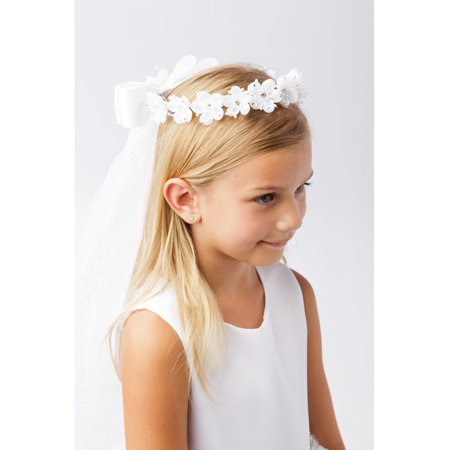 Girls White Rhinestone Glitter Floral Crown Communion Flower Girl Veil - Communion Veil